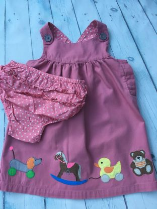 Mini Boden pink applique toys dress with matching nappy cover age 2-3